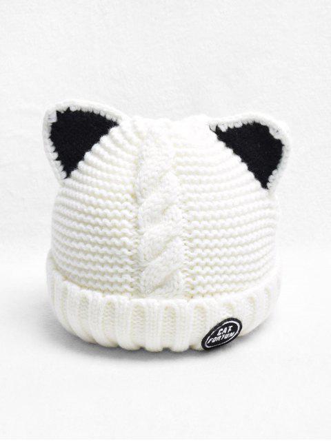 Oído trenza gato Fleece punto Hat - Blanco  Mobile