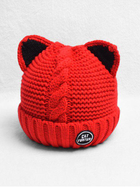 hot Braid Cat Ear Fleece Knitted Hat - RED  Mobile