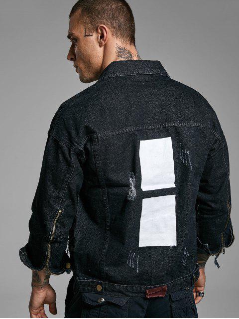 仿舊色塊破壞洗滌抓紋拉鍊下擺牛仔夾克 - 黑色 3XL Mobile