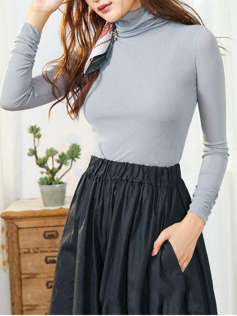 chic Mesh Turtleneck Long Sleeve Ruched Tee - LIGHT SLATE GRAY XL Mobile