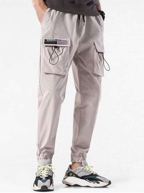 口袋裝飾鬆緊腰圍慢跑褲 - 淺灰 M Mobile