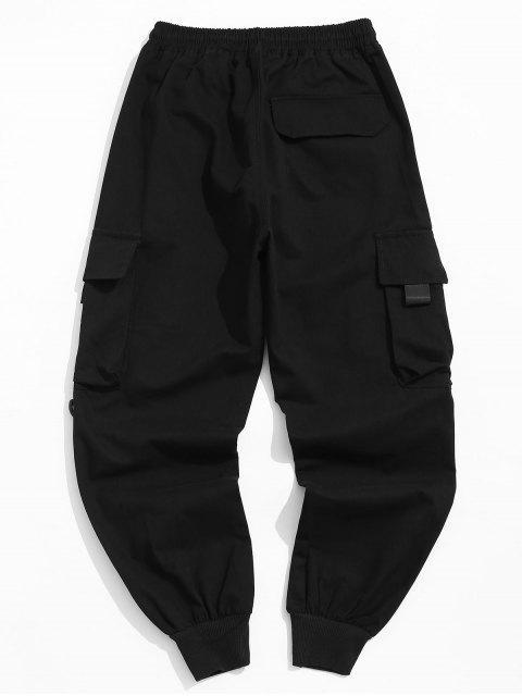shop Pocket Decorated Letter Pattern Jogger Pants - BLACK L Mobile