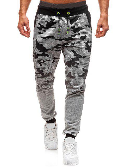ladies Camo Print Gradient Drawstring Jogger Pants - LIGHT GRAY L Mobile