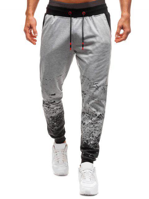 Pantalones Jogger Casual Estampado Tinta - Gris Claro 2XL Mobile