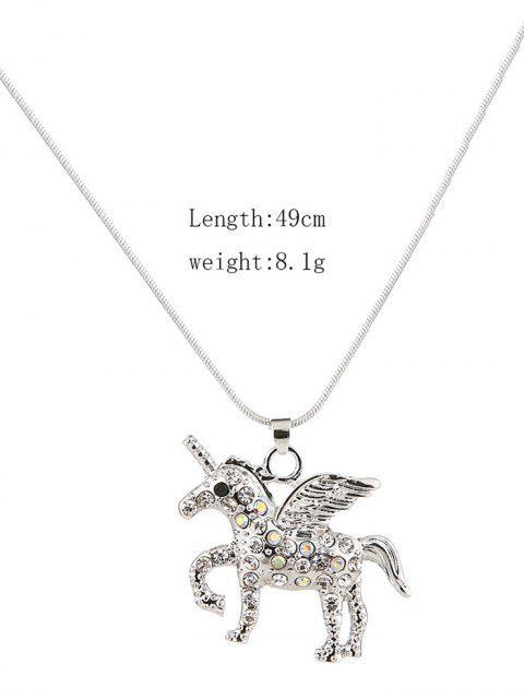 Collar de diamantes de imitación colgante de la forma del unicornio - Plata  Mobile