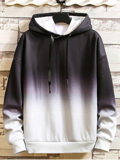 Ombre impresos tinte del lazo con capucha informal - Negro M Mobile