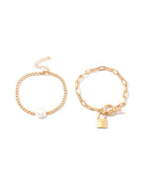 unique 2Pcs Faux Pearl Lock Bracelet Set - GOLD  Mobile