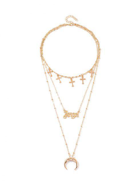 Крест Буквы Луна Многослойное Ожерелье - Золотой  Mobile