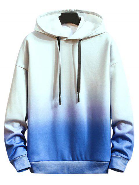 Ombre impresos tinte del lazo con capucha informal - Azul M Mobile