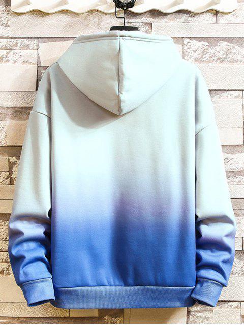 Ombre impresos tinte del lazo con capucha informal - Azul L Mobile