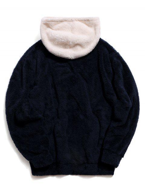 Colorblock bolsillo canguro con capucha mullida - Cadetblue L Mobile