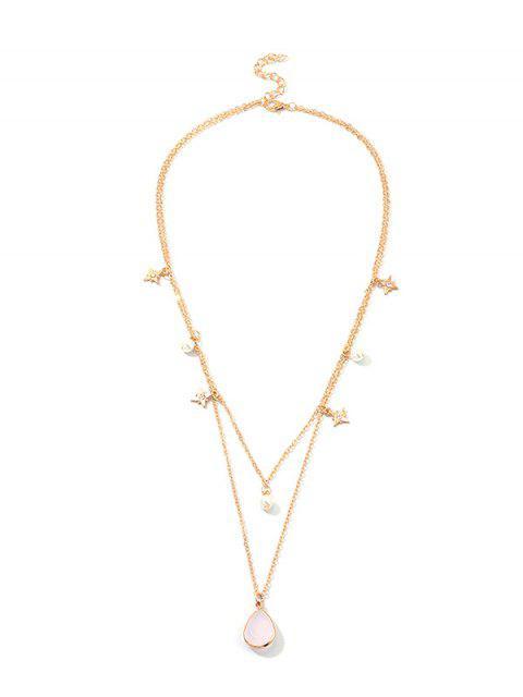 Collar Capas estrella falsa perla en forma de lágrima - Oro  Mobile