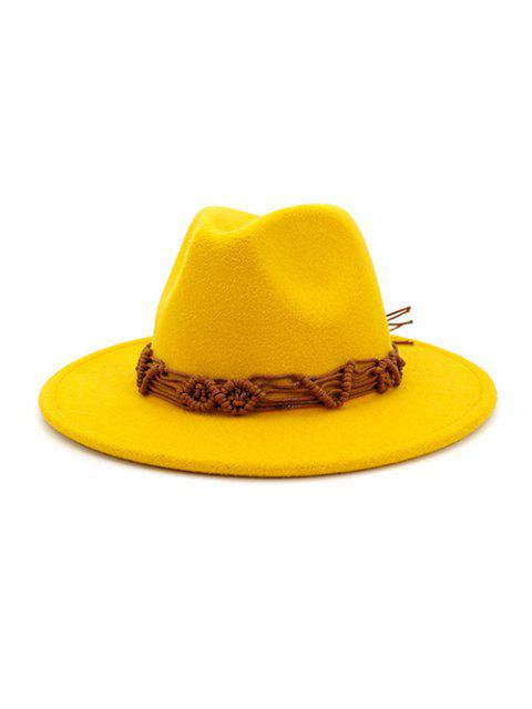 best Crochet Rope Ethnic Solid Fedoras - YELLOW  Mobile