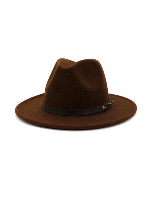 online Winter Solid Belt Design Fedoras - COFFEE  Mobile