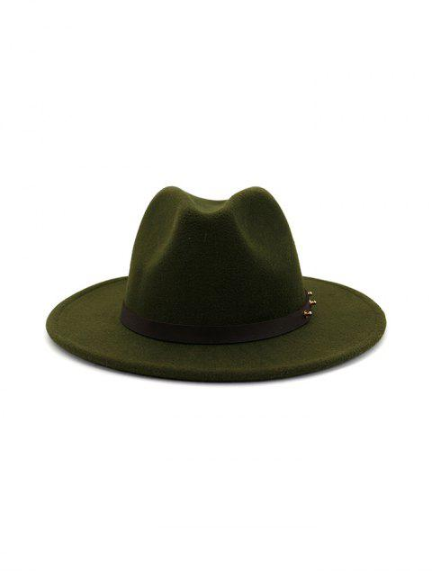 chic Winter Solid Belt Design Fedoras - ARMY GREEN  Mobile