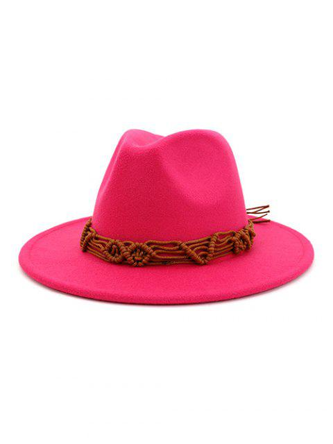 fancy Crochet Rope Ethnic Solid Fedoras - ROSE RED  Mobile
