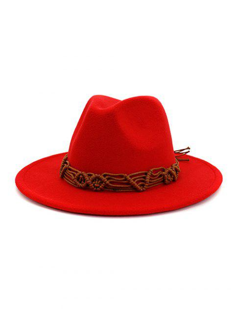 unique Crochet Rope Ethnic Solid Fedoras - RED  Mobile