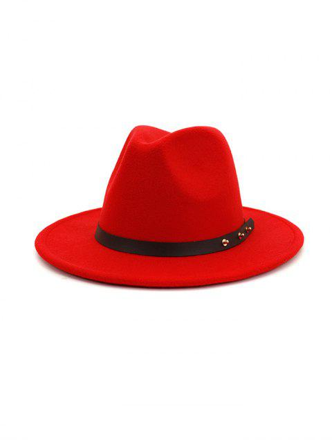sale Winter Solid Belt Design Fedoras - RED  Mobile