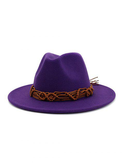 affordable Crochet Rope Ethnic Solid Fedoras - PURPLE  Mobile