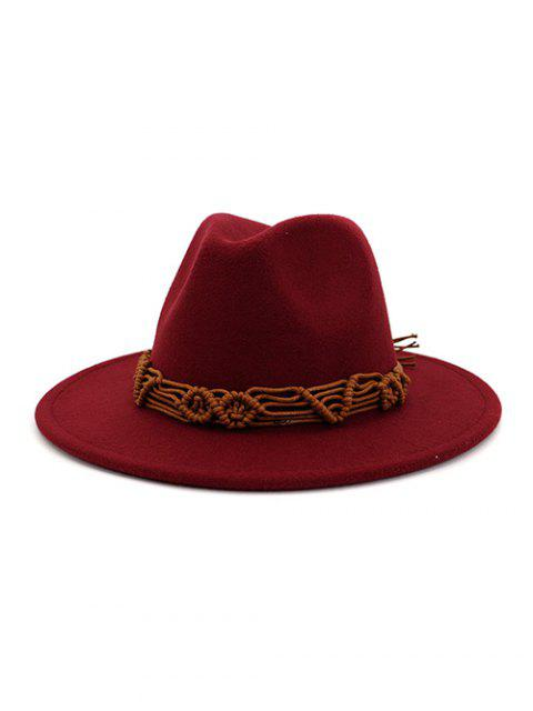 ladies Crochet Rope Ethnic Solid Fedoras - RED WINE  Mobile