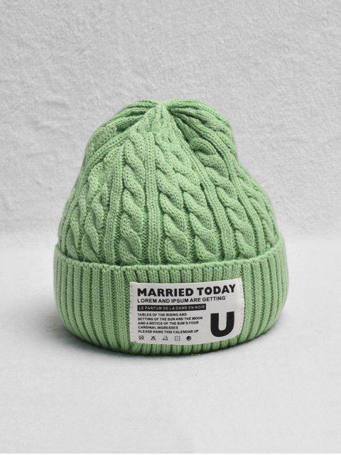 best Braided Turn Up Edge Fleece Knitted Hat - MINT GREEN  Mobile