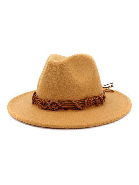 Cuerda de ganchillo sombreros de ala sólidos étnicas - Marrón  Mobile