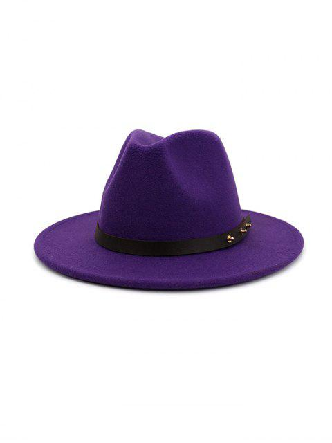 hot Winter Solid Belt Design Fedoras - PURPLE  Mobile