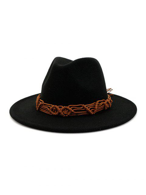 outfits Crochet Rope Ethnic Solid Fedoras - BLACK  Mobile