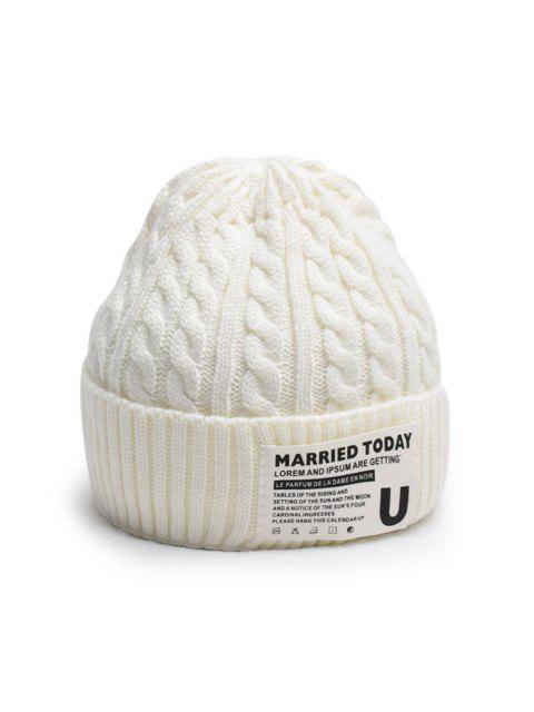shop Braided Turn Up Edge Fleece Knitted Hat - MILK WHITE  Mobile