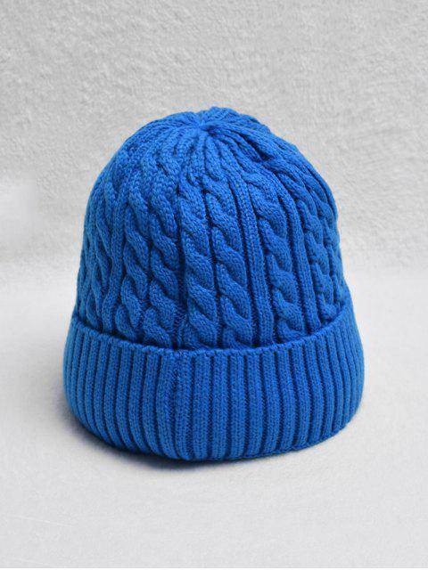 latest Braided Turn Up Edge Fleece Knitted Hat - BLUE  Mobile