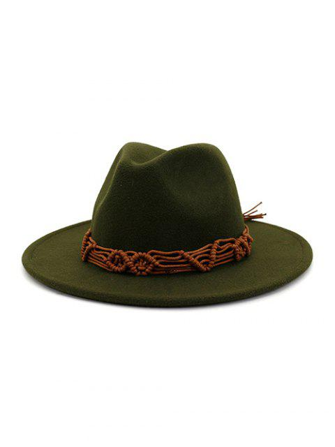 fashion Crochet Rope Ethnic Solid Fedoras - ARMY GREEN  Mobile