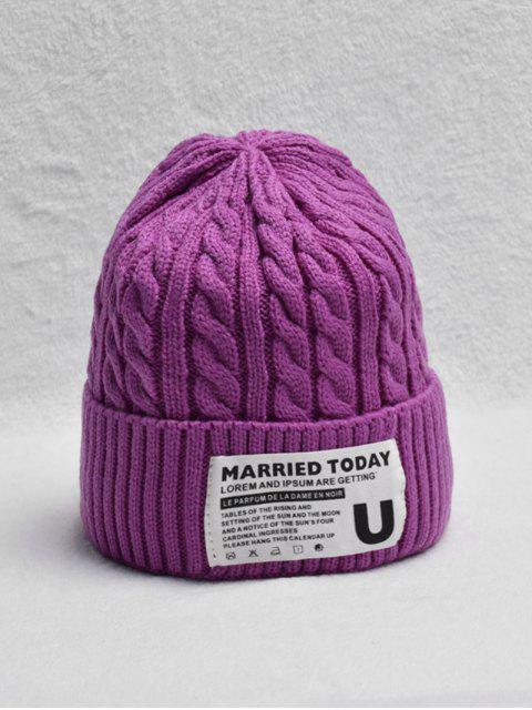 fancy Braided Turn Up Edge Fleece Knitted Hat - TYRIAN PURPLE  Mobile