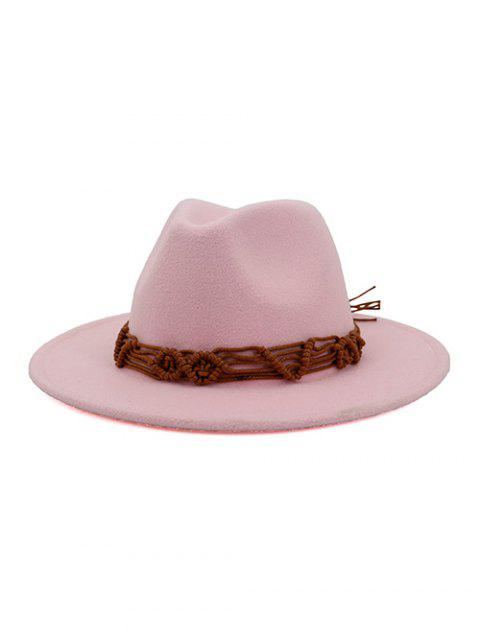 sale Crochet Rope Ethnic Solid Fedoras - LIGHT PINK  Mobile