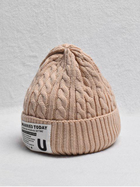 affordable Braided Turn Up Edge Fleece Knitted Hat - APRICOT  Mobile