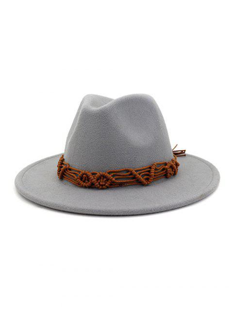 Cuerda de ganchillo sombreros de ala sólidos étnicas - Gris Claro  Mobile