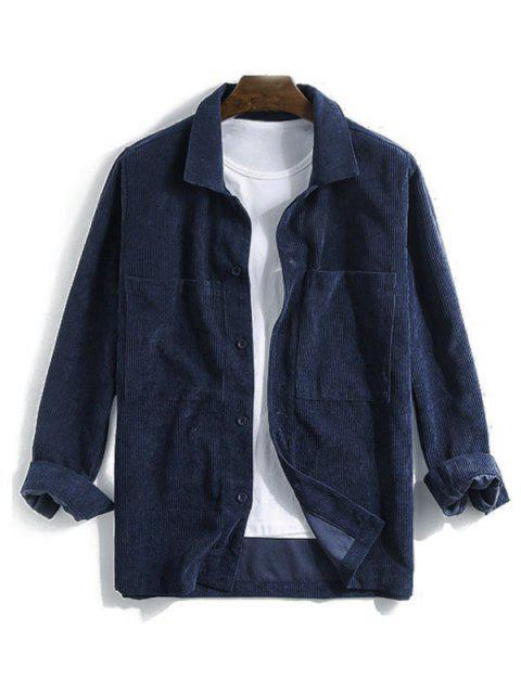 latest Solid Pocket Long Sleeve Button Cord Shirt - DEEP BLUE 2XL Mobile
