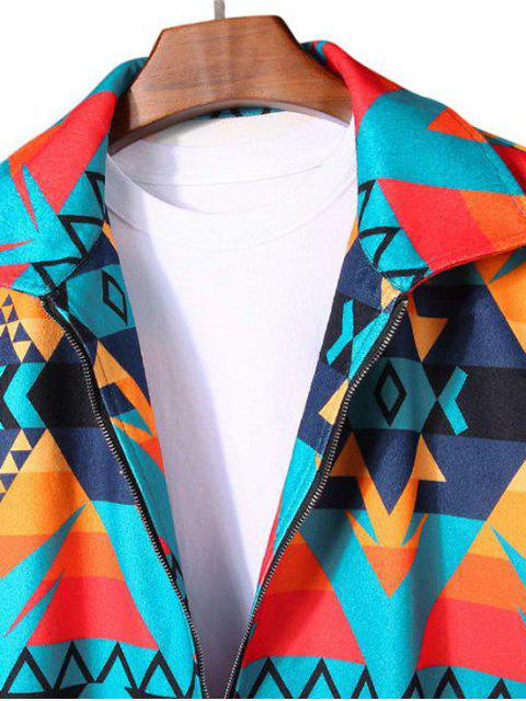 online Geometric Graphic Print Rib-knit Trim Jacket - MULTI 2XL Mobile