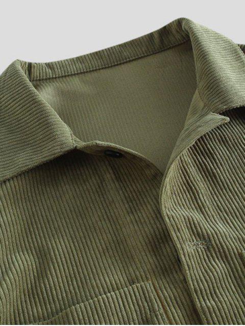 Bolsillo Sólido de Manga Larga Abotonada Camisa - Ejercito Verde 3XL Mobile