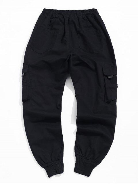 Pantalones Decoración del lazo del bolsillo del basculador - Negro XL Mobile