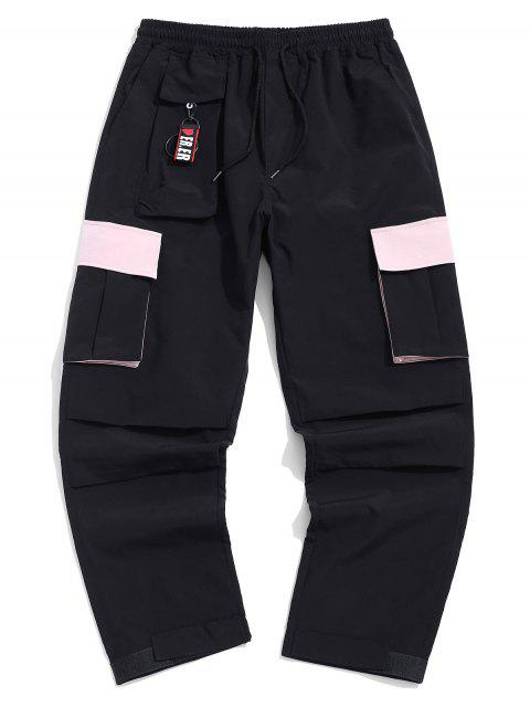 sale Color Blocking Pocket Design Casual Pants - BLACK XL Mobile