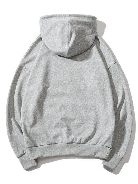 Bolsillo de canguro con capucha impresa letra del lazo - Nube Gris 3XL Mobile