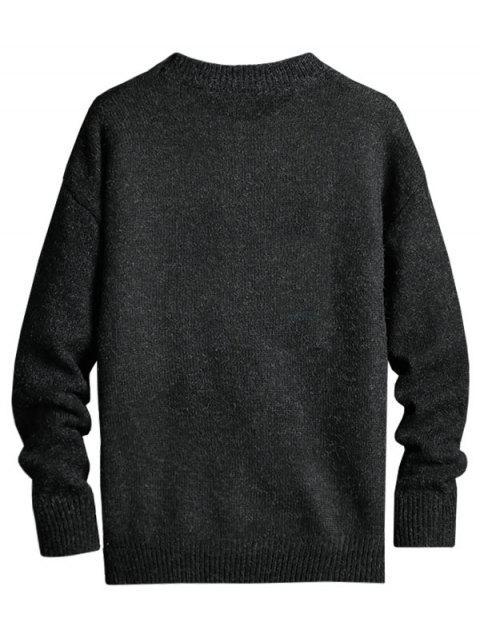 Letra de modelo gráfico suéter de cuello redondo - Negro 3XL Mobile