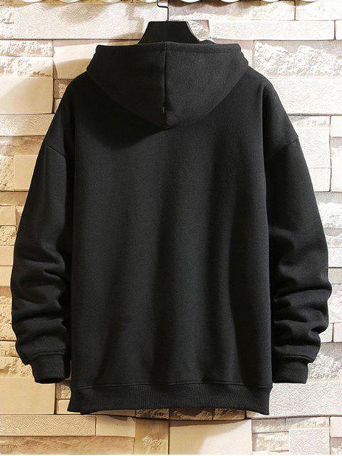 Bolsillo de canguro con capucha impresa letra del lazo - Negro XL Mobile