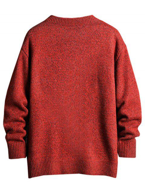 womens Graphic Letter Pattern Round Neck Sweater - CHESTNUT RED 2XL Mobile
