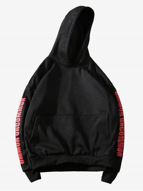 Estampado de bolsillo canguro con capucha informal - Negro M Mobile