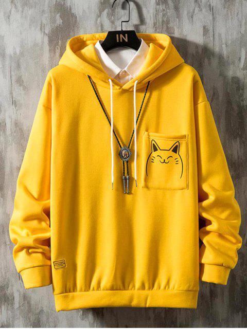Gato divertido de la historieta de impresión de bolsillo Fleece con capucha - Amarillo M Mobile