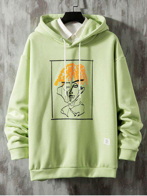 shops Funny Pattern Graphic Print Drawstring Fleece Hoodie - GREEN 2XL Mobile