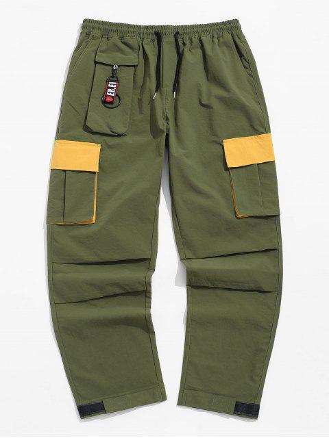 El bloqueo de color Diseño de bolsillo pantalones casuales - Ejercito Verde 2XL Mobile