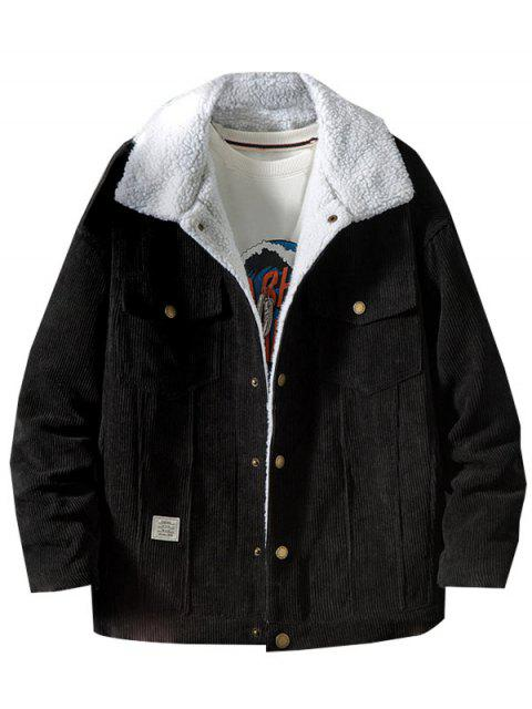 latest Chest Pocket Faux Fur Fluffy Casual Cord Jacket - BLACK L Mobile