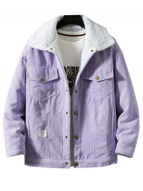 outfits Chest Pocket Faux Fur Fluffy Casual Cord Jacket - VIOLET XS Mobile